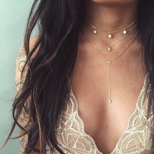 Layered Sun and Stars Lariat Necklace